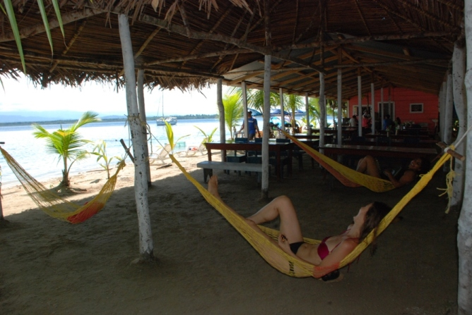Relaxing at the Star Beach in Bocas del Toro, Panama